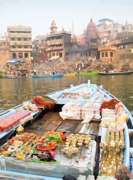 The Ghats of Varanasi from a boat on the Ganges River India