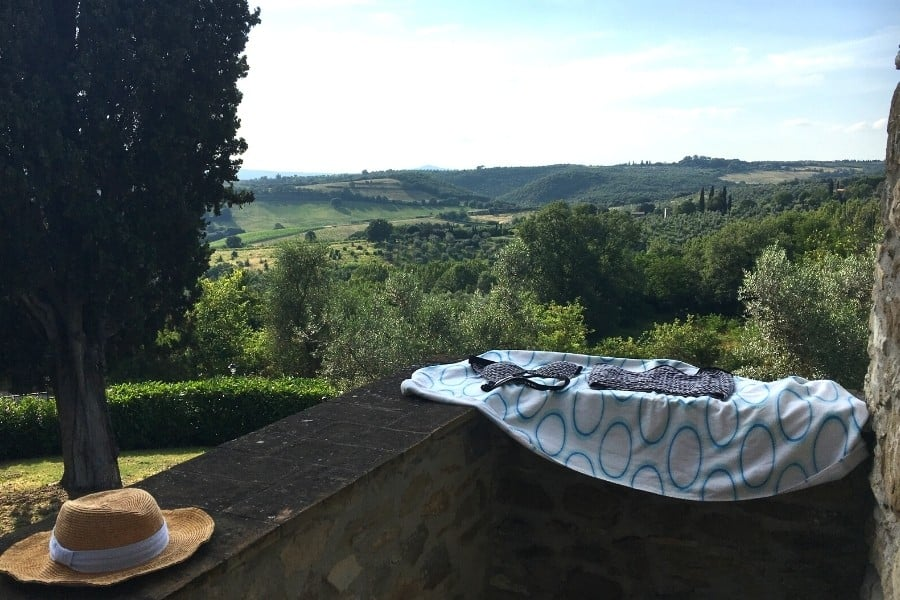 A balcony with a view of the Umbrian hills, at Antica Olivaia Agriturismo