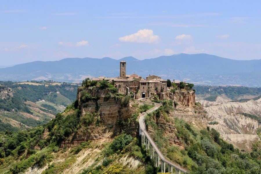 The footbridge to the Umbrian town of Civita di Bagnoregio. No cars are permitted within the city
