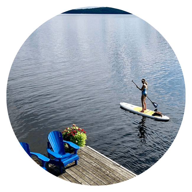 Standup paddle board in lake ontario Canada