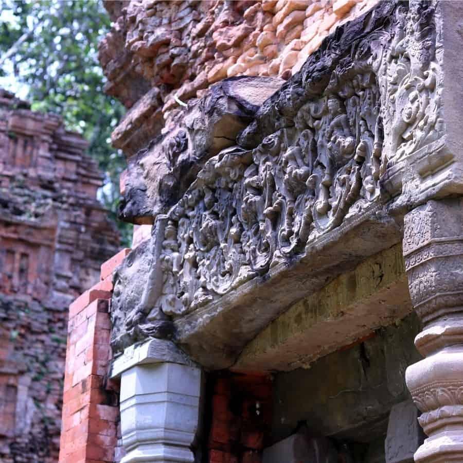 Intricate carvings in the stone lintels at Preah Ko