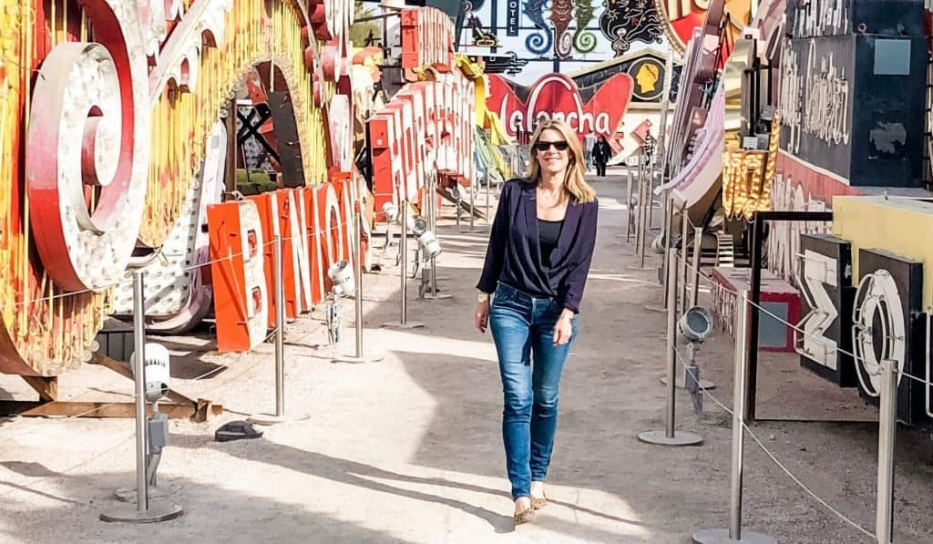 fit at fifty and back in my skinny jeans at the Neon Boneyard museum, in Las Vegas