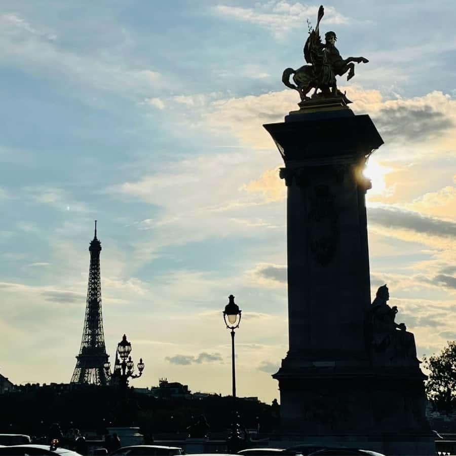 Eiffel Tower from Pont Alexandre III Bridge at Sunset