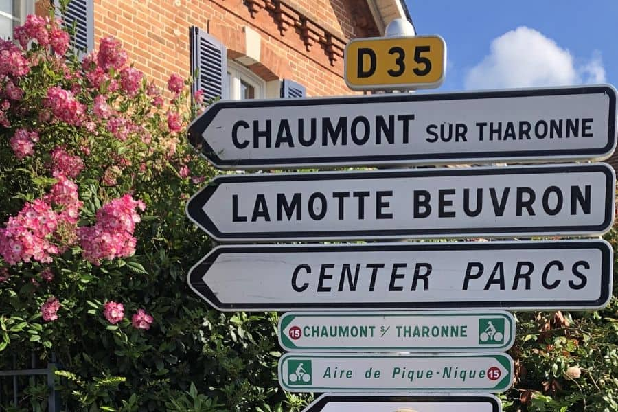 Town signs in Loire Valley