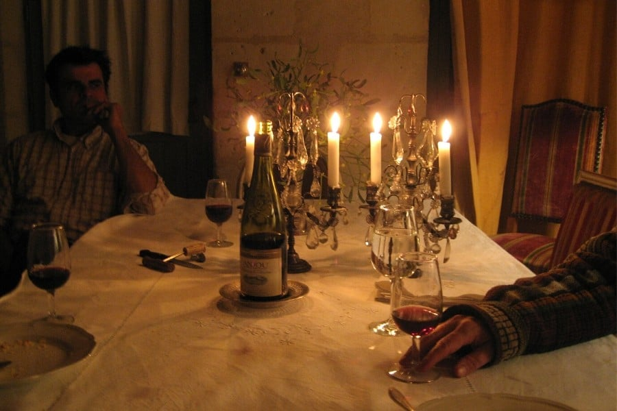Dinner by candlelight at Le Moulin Bregeon, a charming Loire Valley hotel