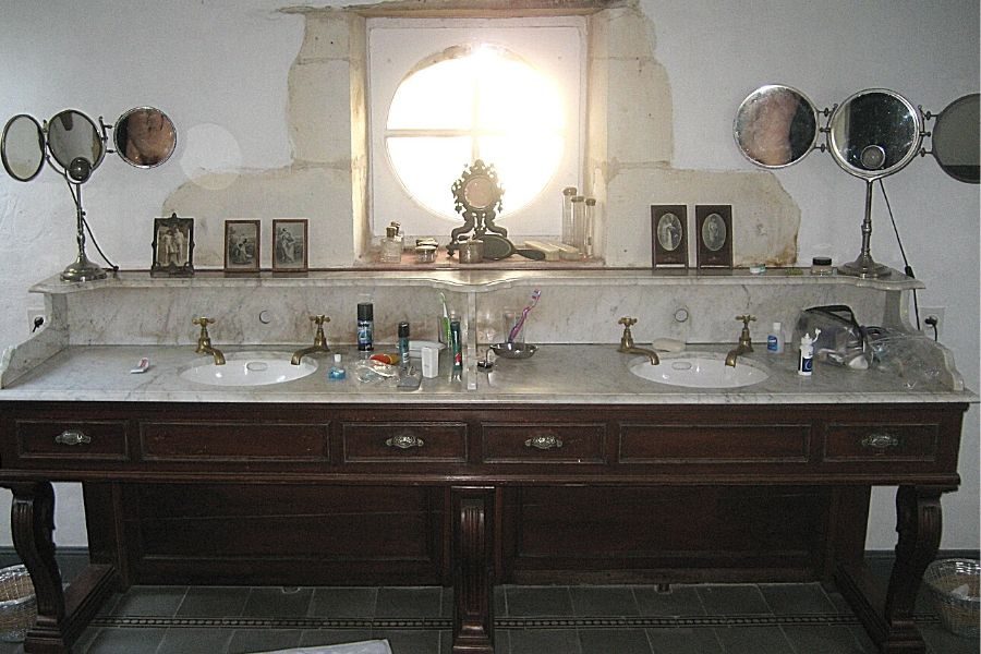charming bathroom at le moulin bregeon