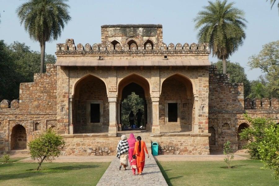 ladies walking humayun tomb delhi