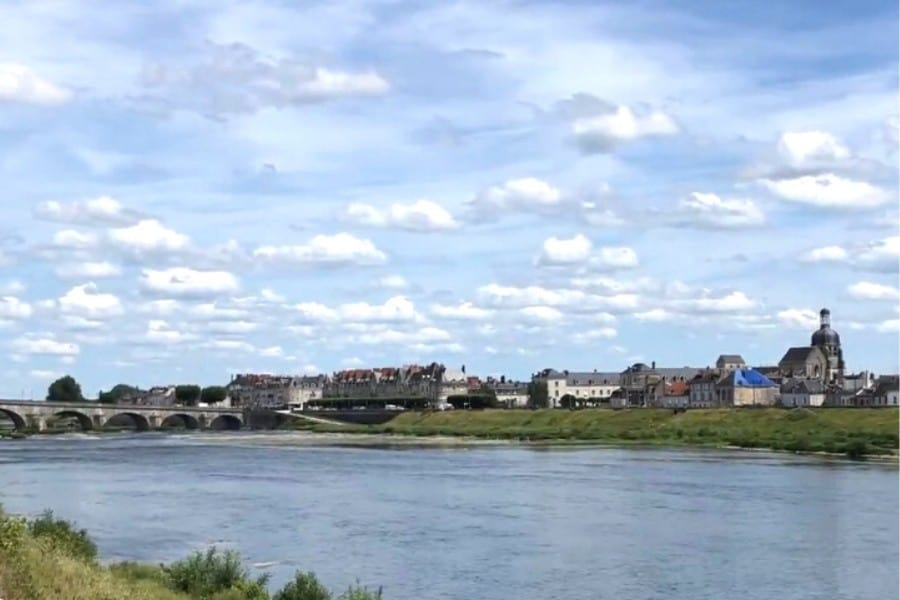 The Loire River and town of Blois in Francee