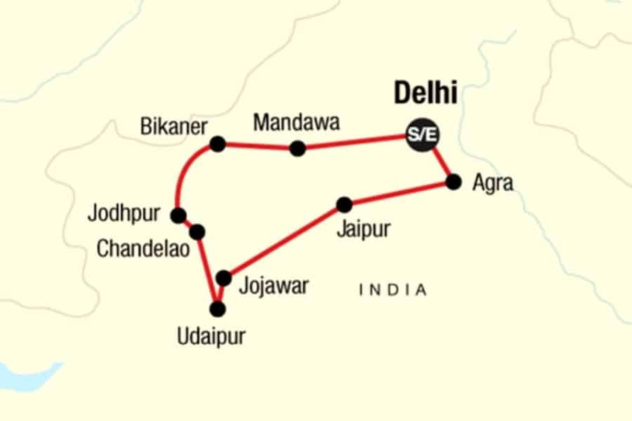 small group tour india g adventures map
