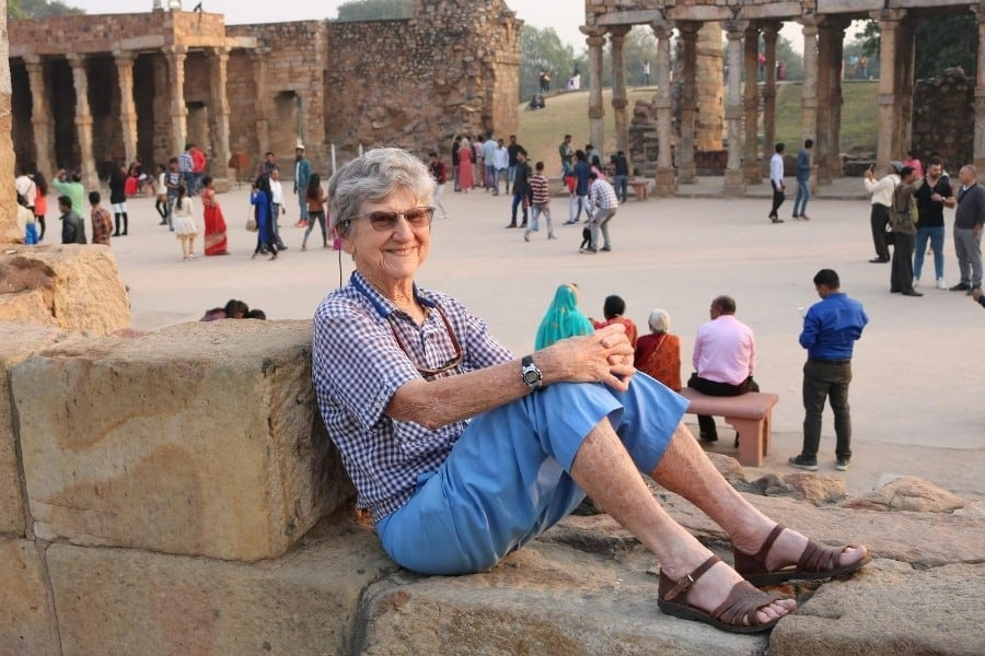 An older woman traveller on a small group tour of India