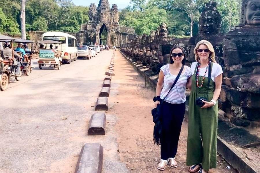 Midlife women travel together in Siem Reap Cambodia