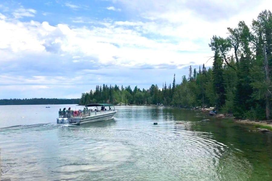 The boat shuttle takes visitors across Jenny Lake at Grand Teton National Park