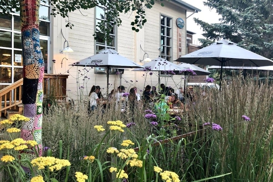 A pretty patio at Snake River Brewing in Jackson Wyoming