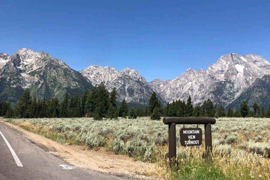 A scenic drive with tournout sign in Grand Teton National Park