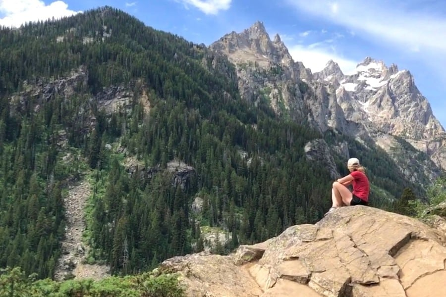 susan heinrich looking out at the view of grand teton national park