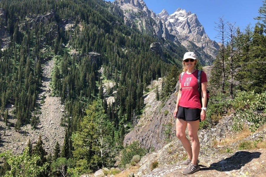 Susan on a hike in the Grand Teton mountains of Wyoming