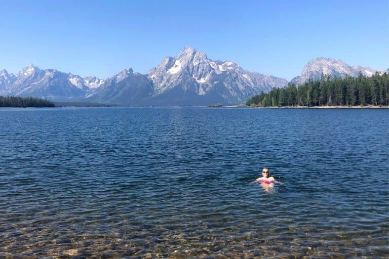 Susan Heinrich swimming in Jackson Lake at Grand Teton National Park
