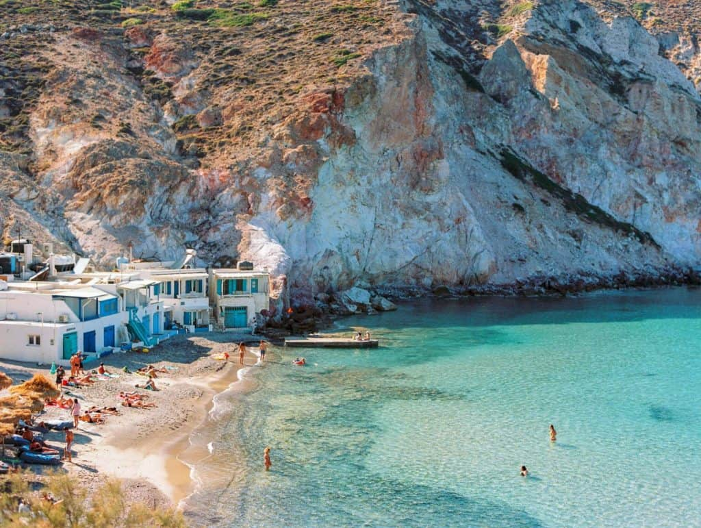 A beach in Greece with a turquoise sea