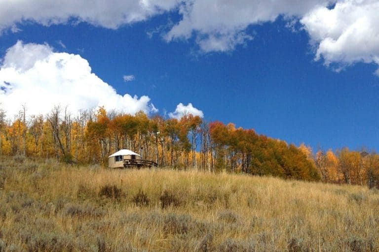 A Colorado yurt is set in a remote location with golden aspen trees beyond it