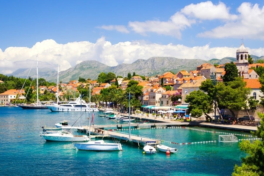 The coastline of Croatia and a seaside village
