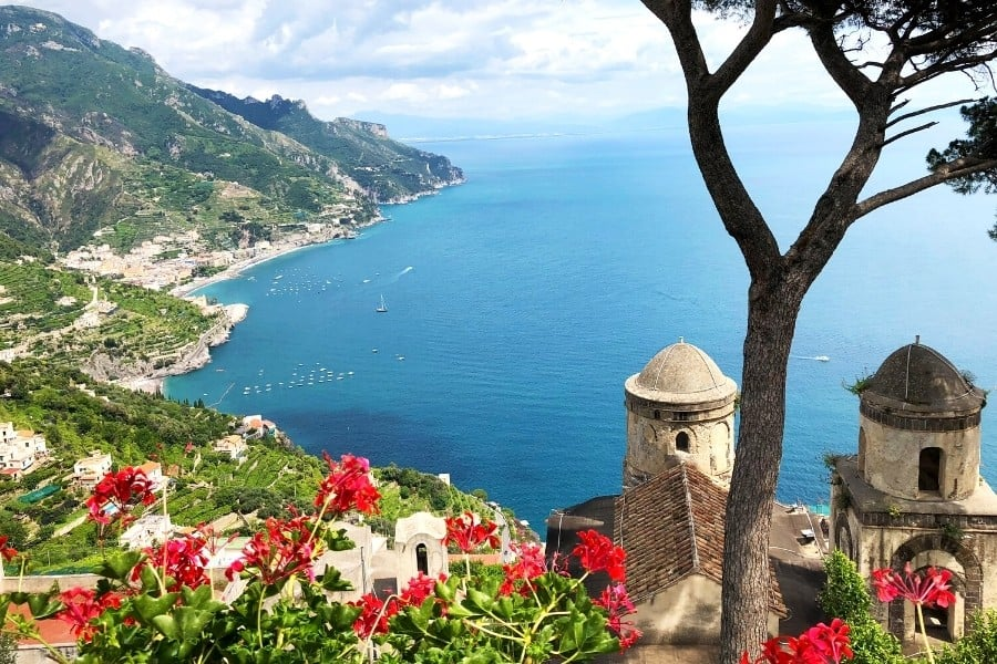 A stunning view out over the water from the Amalfi Coast, Italy