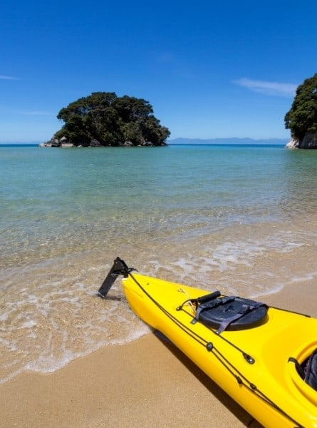 Kayaking along the coast of New Zealand