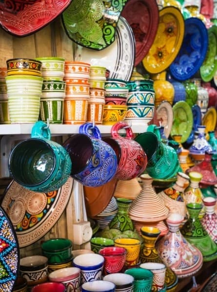 a pottery shop in a medina in morocco
