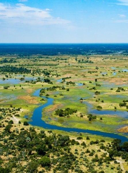 A flooded Botswana delta