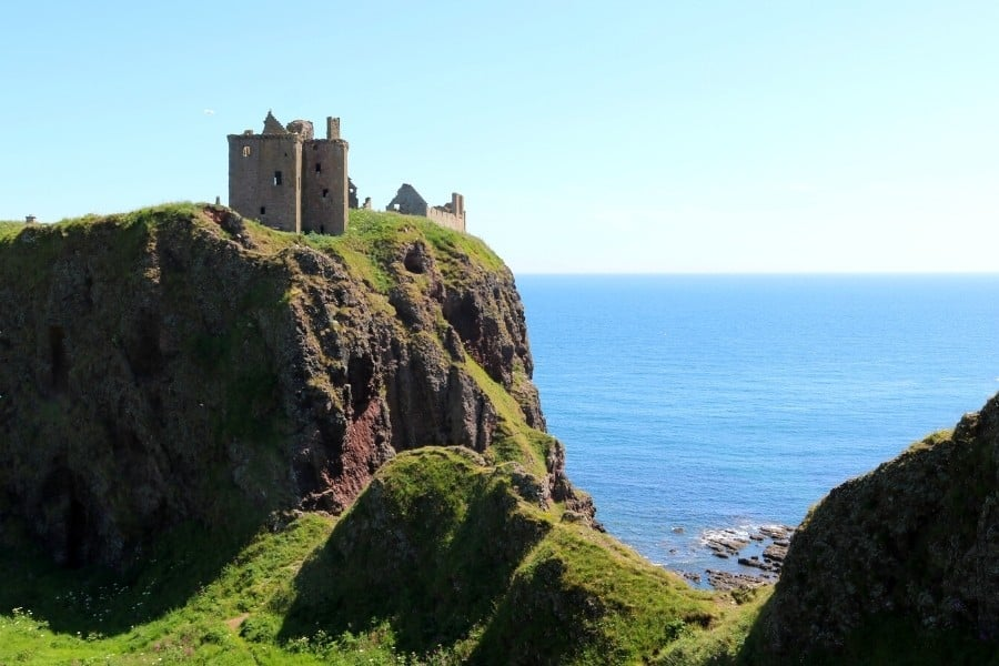 Dunnottar Castle sits high on a cliff on the coast of Scotland