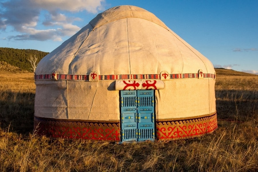 A traditional yurt in an open meadow in Asia
