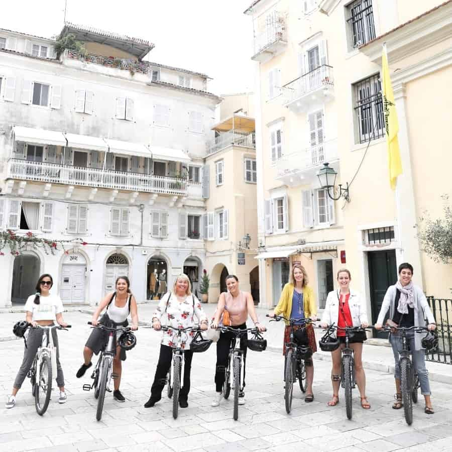 A group of women on a tour in Corfu, Greece