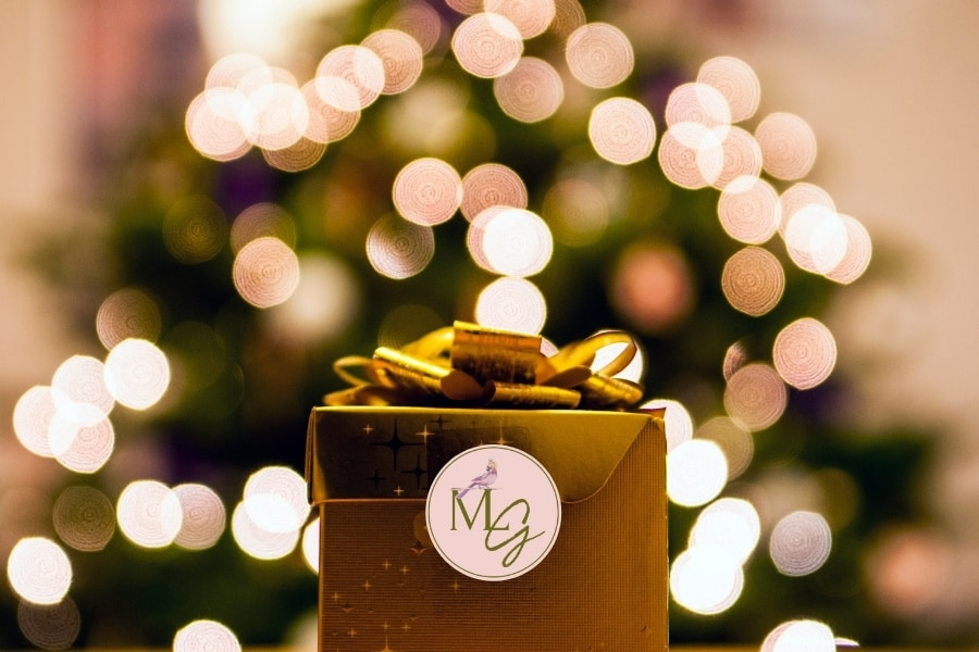 A holiday gift with lights and the Midlife Globetrotter logo