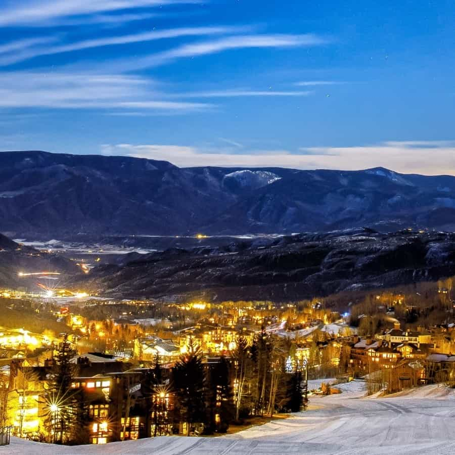 Aspen ski resort with the town beyond