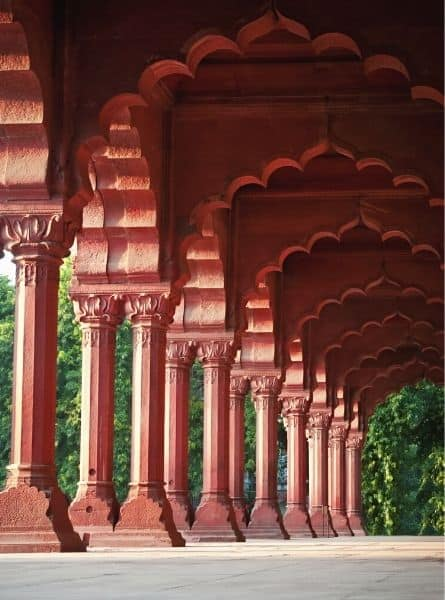 Arched corridor at the Red Fort in Delhi