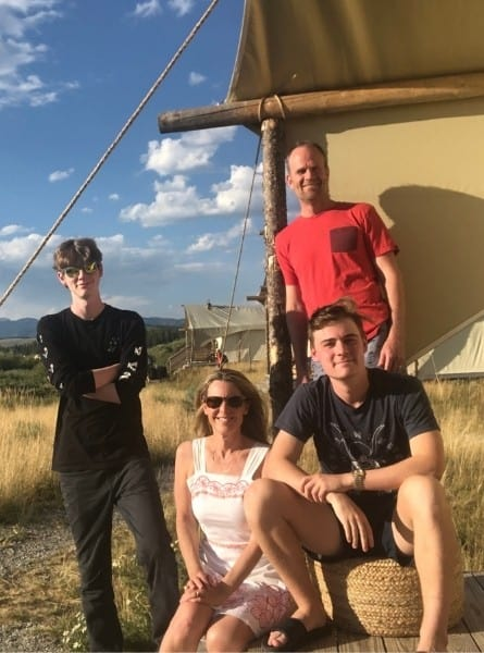 Mildife Globetrotter and her family at Under Canvas Yellowstone