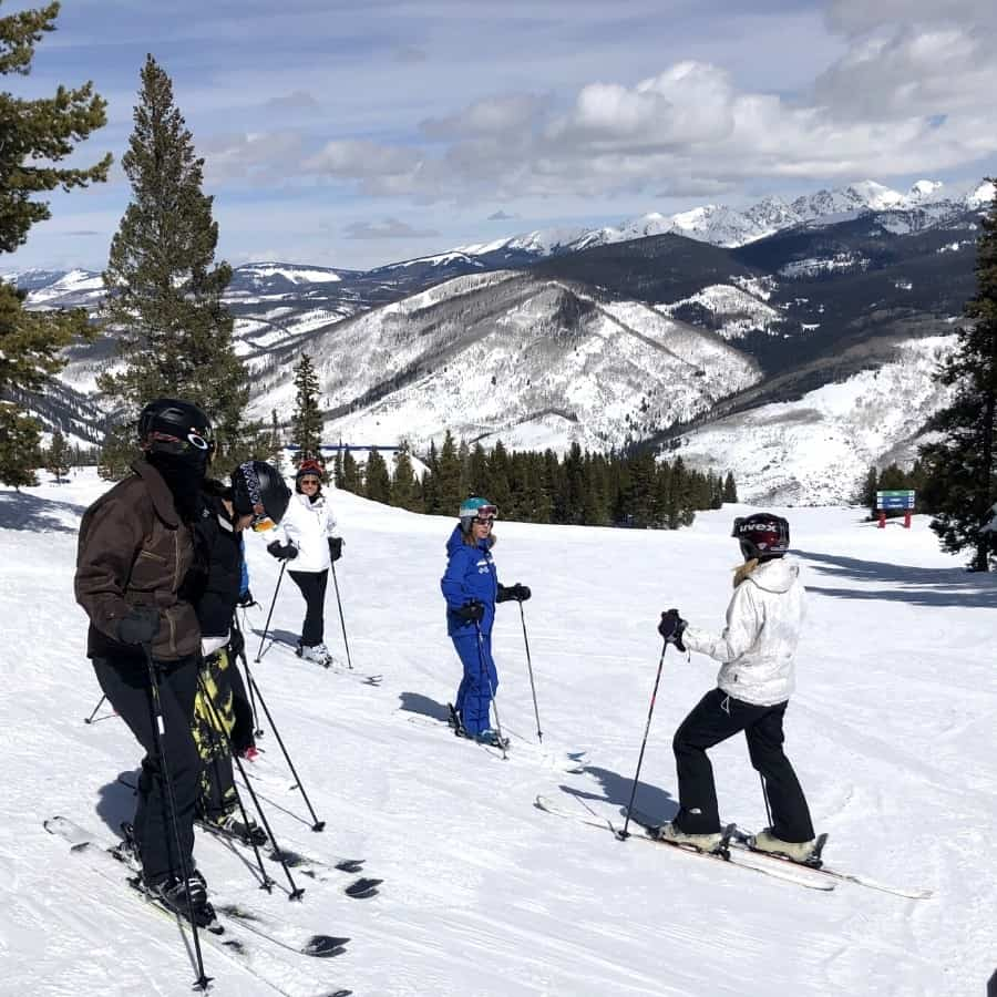 A group of women skiing together at Vail