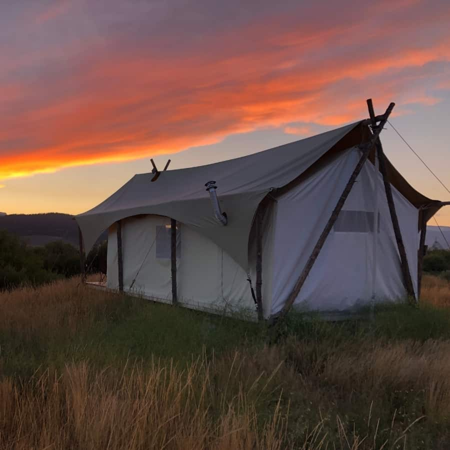 Glamping tent in Yellowstone with sunset