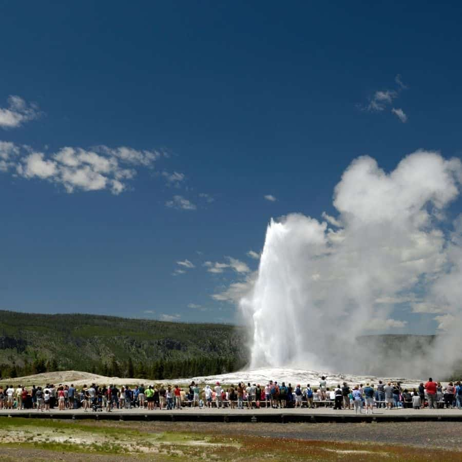 Old faithful erupts at Yellowstone National Park