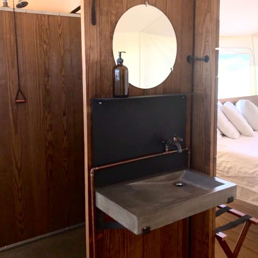 A lovely bathroom in a deluxe glamping tent at Under Canvas Yellowstone