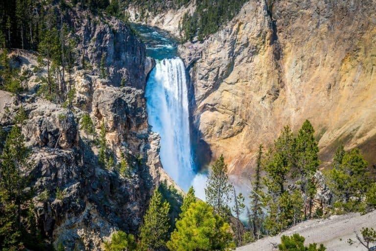 A waterfall in Yellowstone