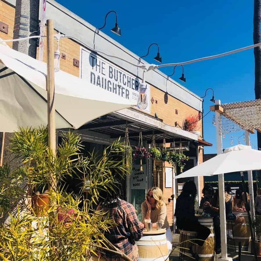 The patio at Butcher's Daughter restaurant in Venice California
