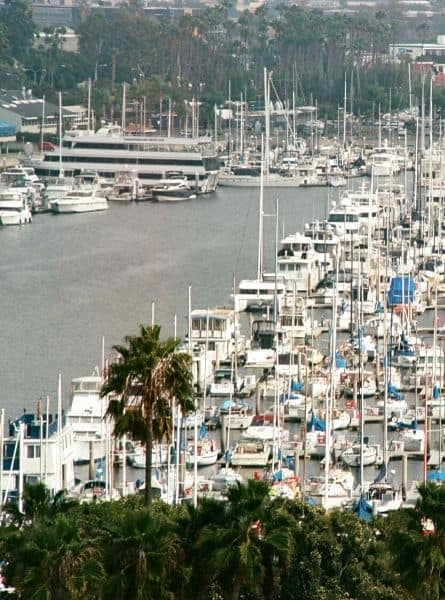 An overhead view of boats in Marina del Rey California