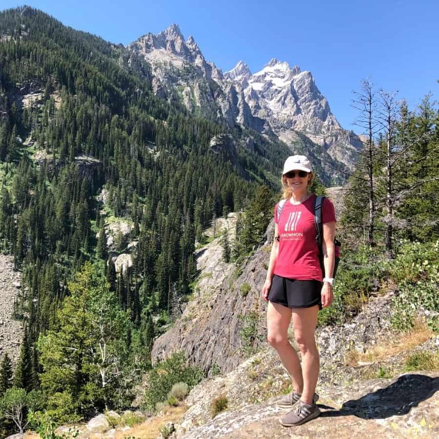 Susan Heinrich hiking on Grand Teton National Park