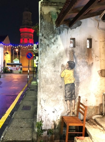 Boy on a Chair Mural in Penang
