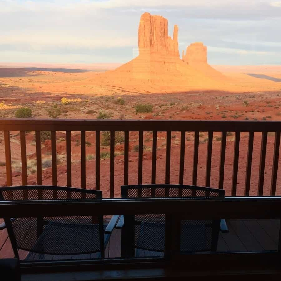 The view of Monument Valley out of a cabin at the Monument Valley View hotel