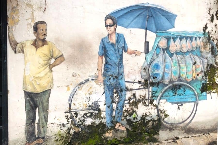 A street mural depicts a Traditional Chinese Rickshaw Vendor