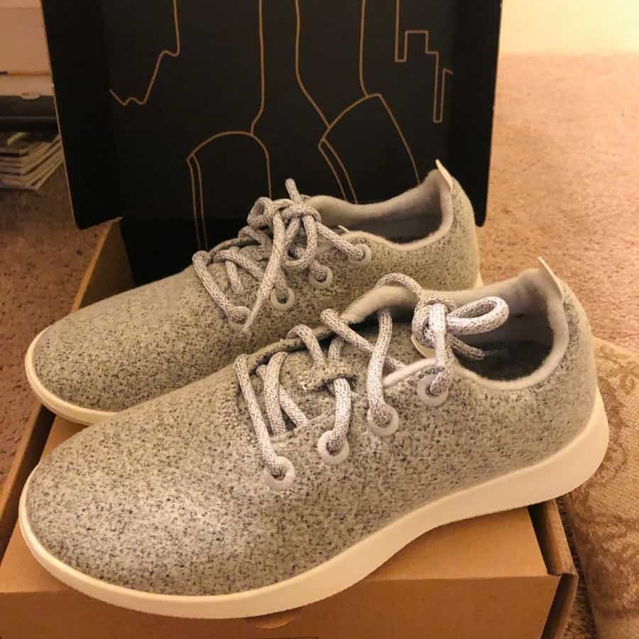 A pair of Allbirds, sustainably made wool runners, ideal for travel