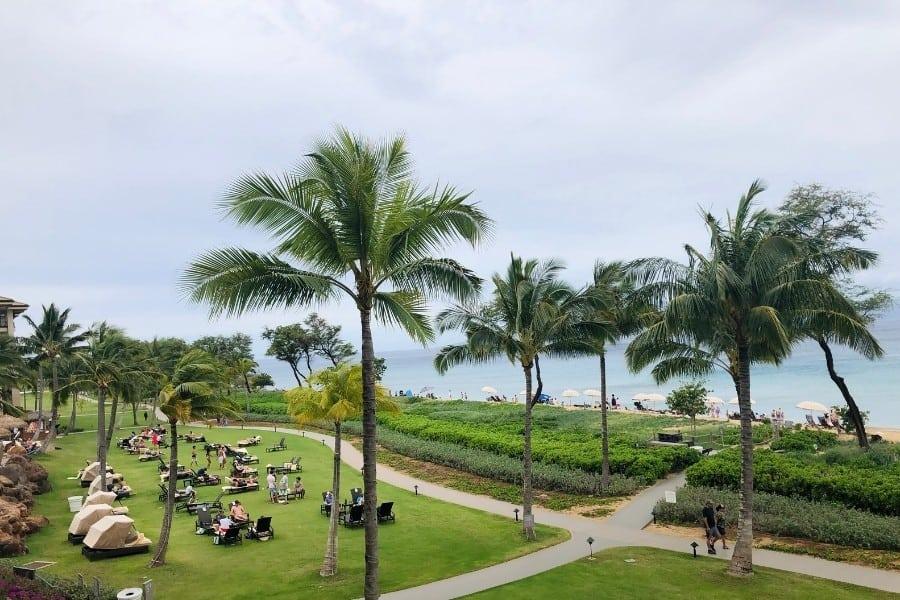 The view of the boardwalk in Kaanapali from the Westin Nanea Ocean Villas