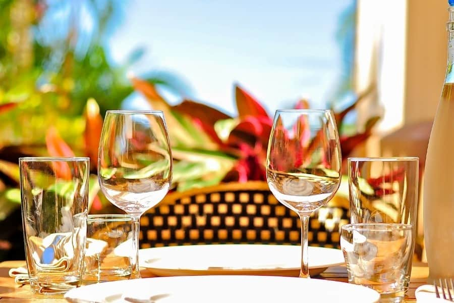 A table with wine glasses with tropical plants beyond