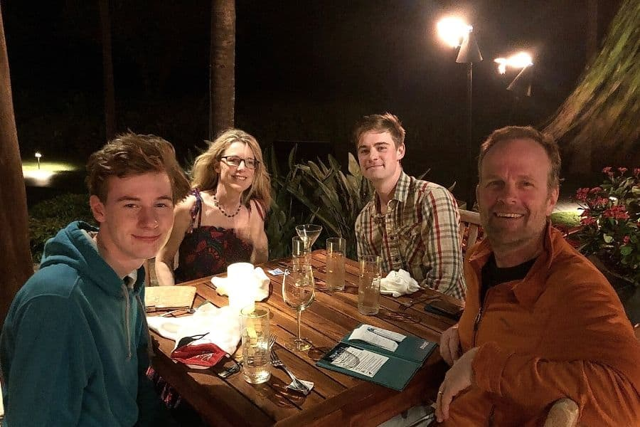Susan Heinrich with her family at Duke's Maui Restaurant